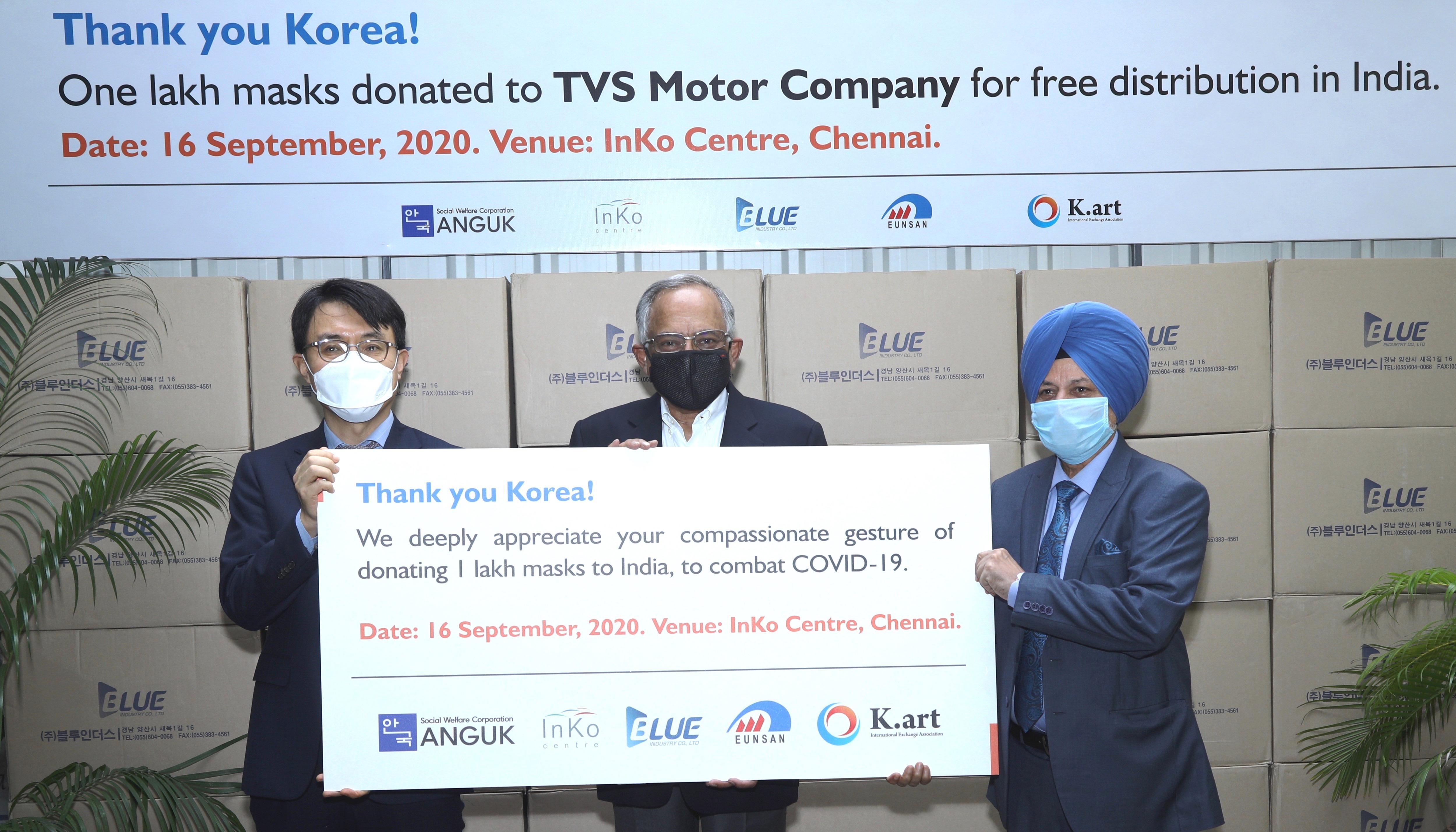 South Korea Donates One Lakh Masks To TVS Motor